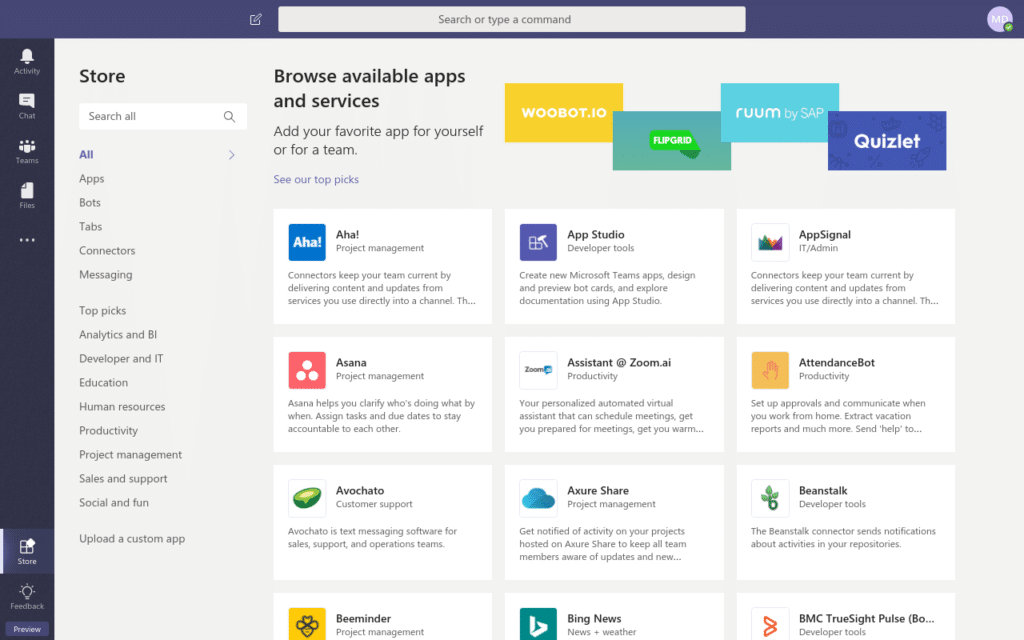 Microsoft Teams Store