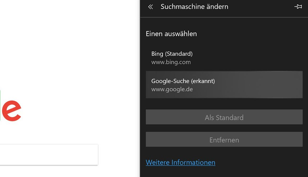 Windows 10 Google Standardsuchmaschine Edge Browser