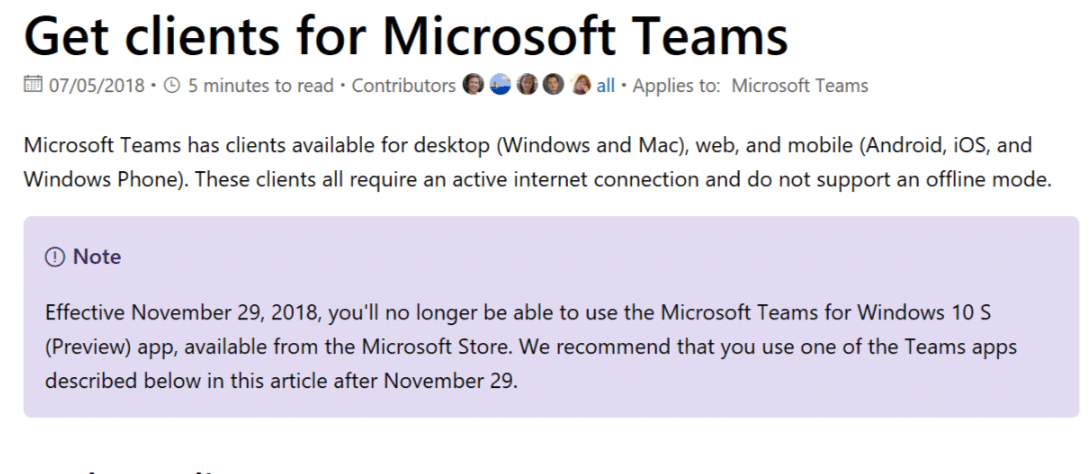 Microsoft Teams Windows 10 S