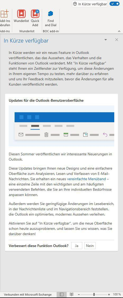 Outlook Update vereinfachtes Menüband