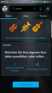 Microsoft Launcher 5.0 Update Cortana Deutsch