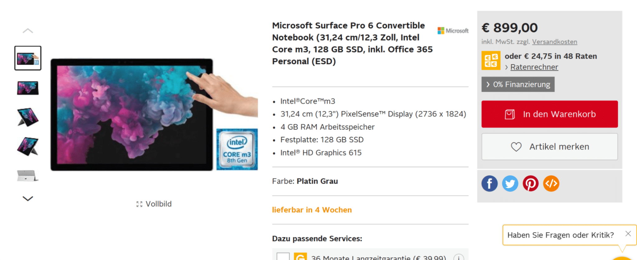 surface pro 6 intel core m