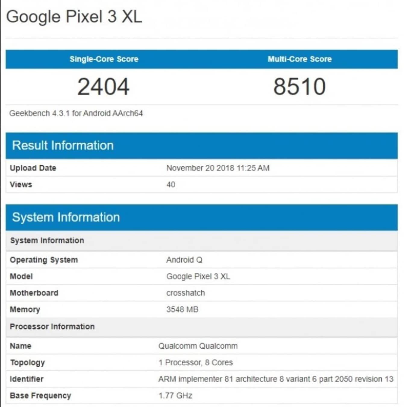Android 10 Q Google Pixel 3 XL