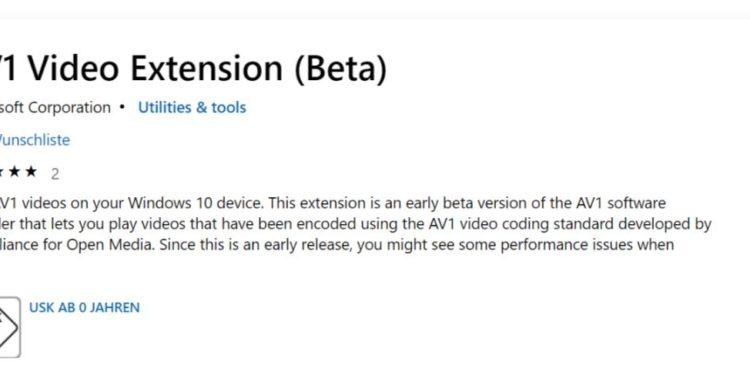 AV1 Video Codec für Windows 10 im Microsoft Store verfügbar