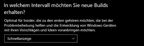 Windows Insider Intervall