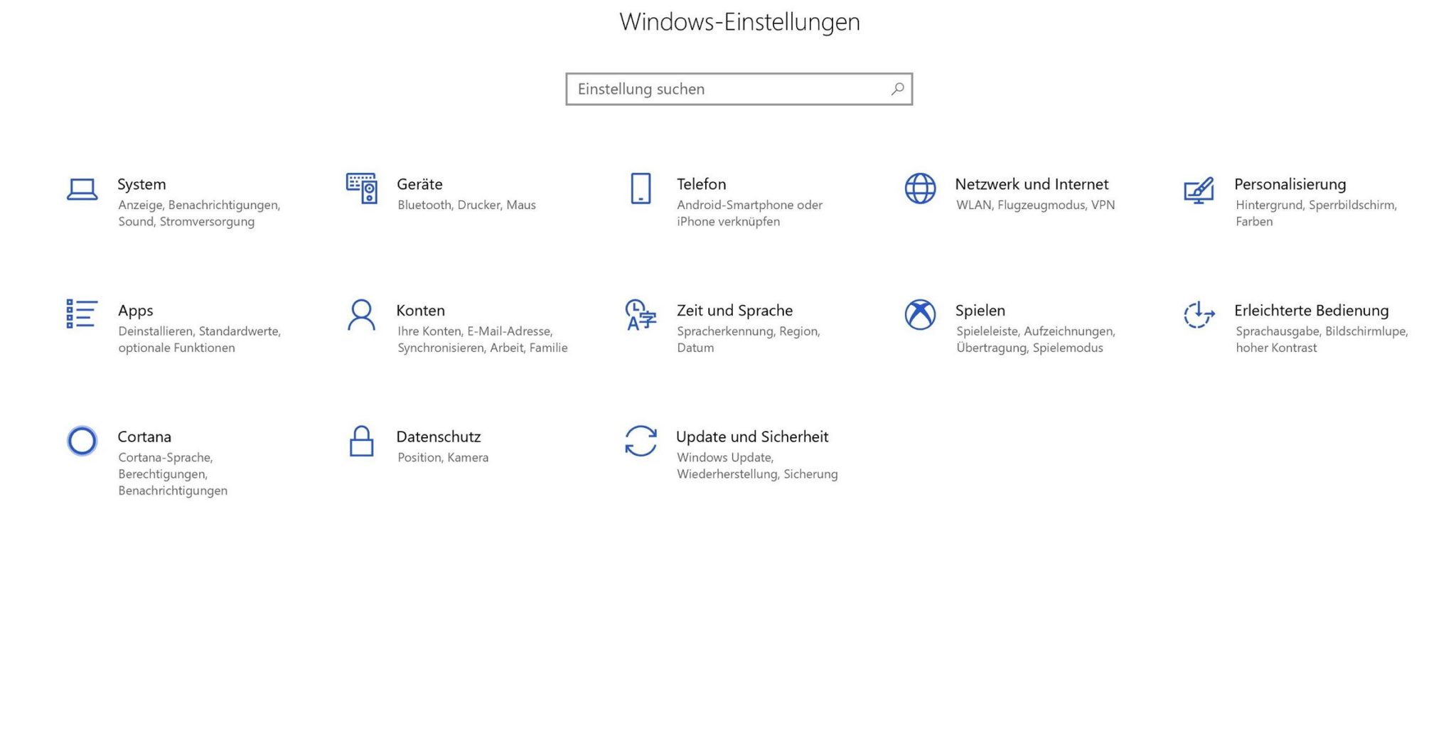 Windows 10 Einstellungen alt