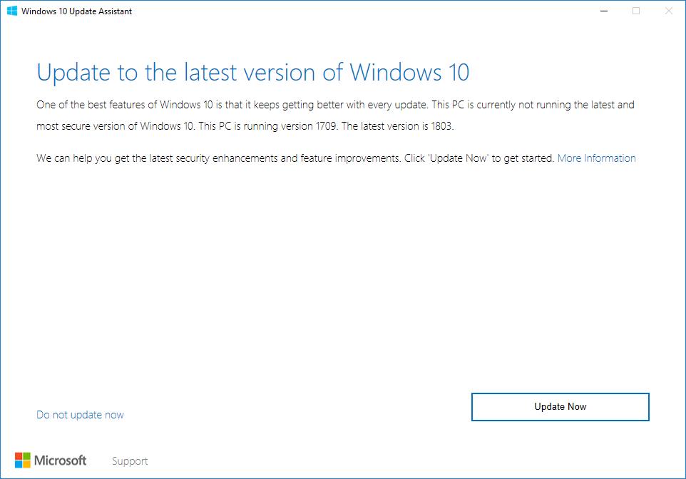 Update Assistant Version 1809