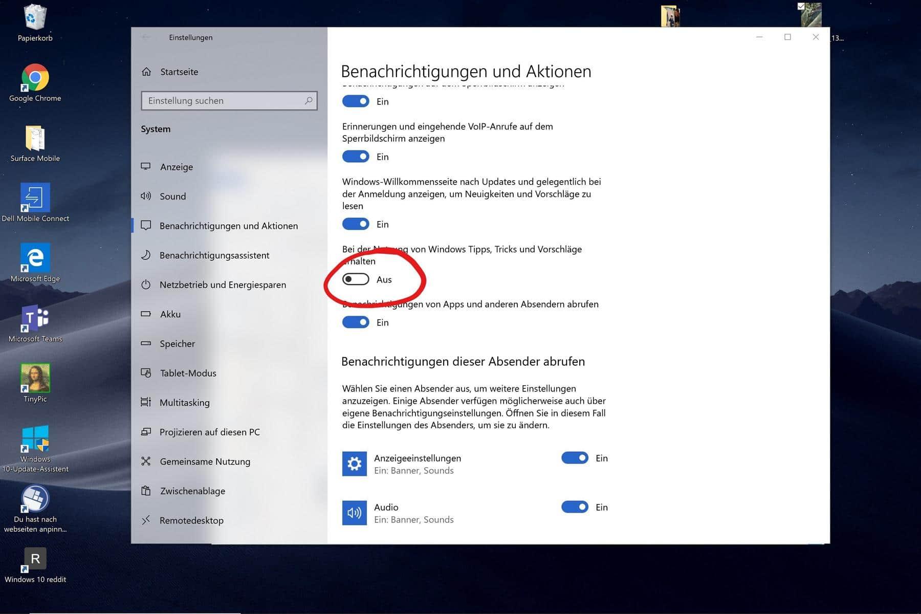 Windows 10 Info Center Werbung ausschalten