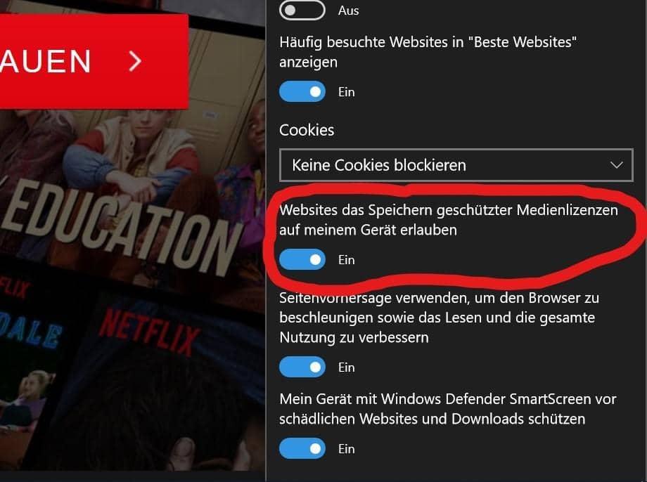 Microsoft Edge DRM Medienlizenz Wiedergabe