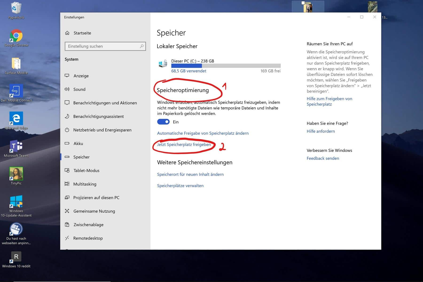 Windows 10 Speicheroptimierung