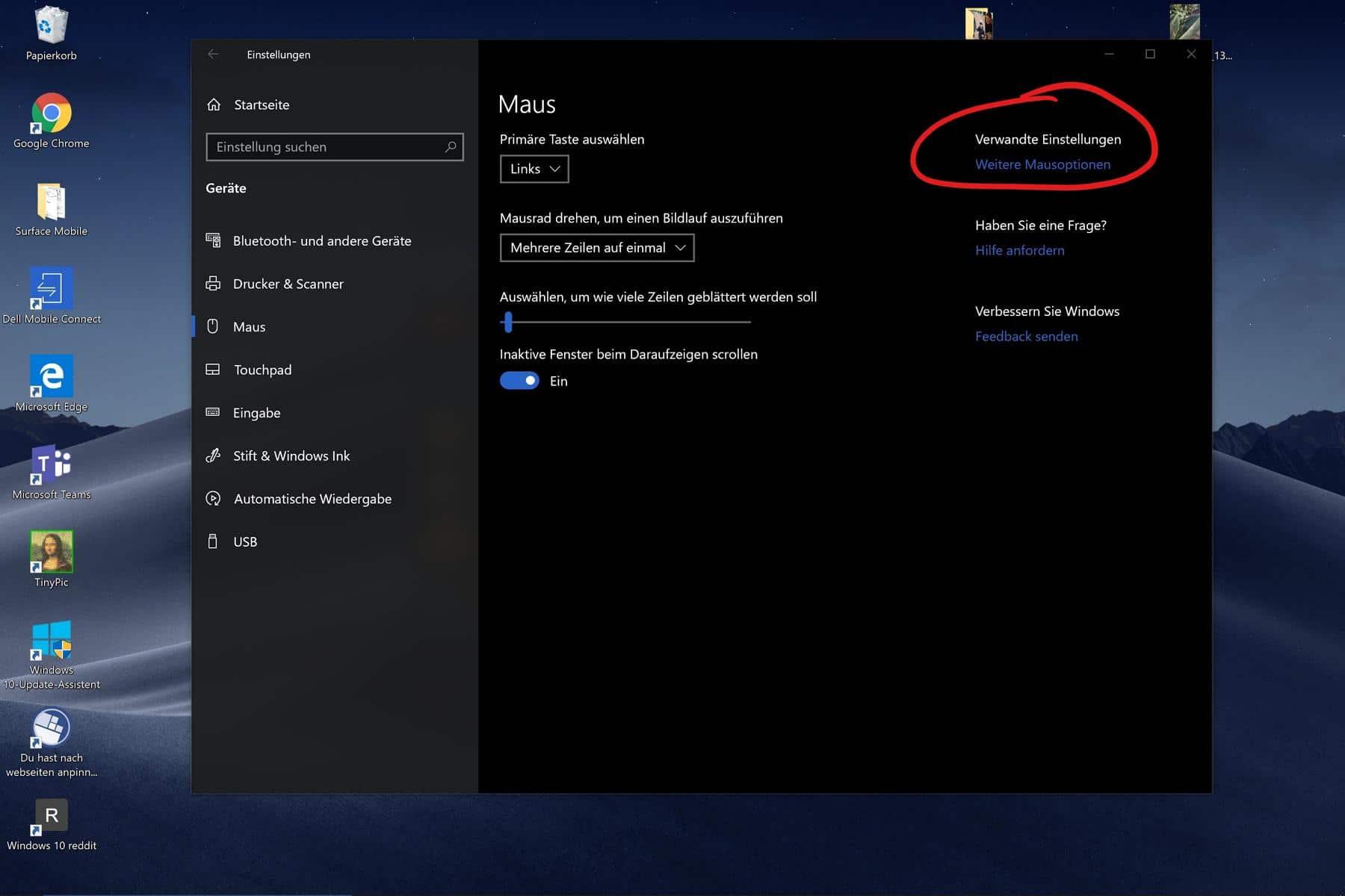 Windows 10 mauszeiger im Fluent Design