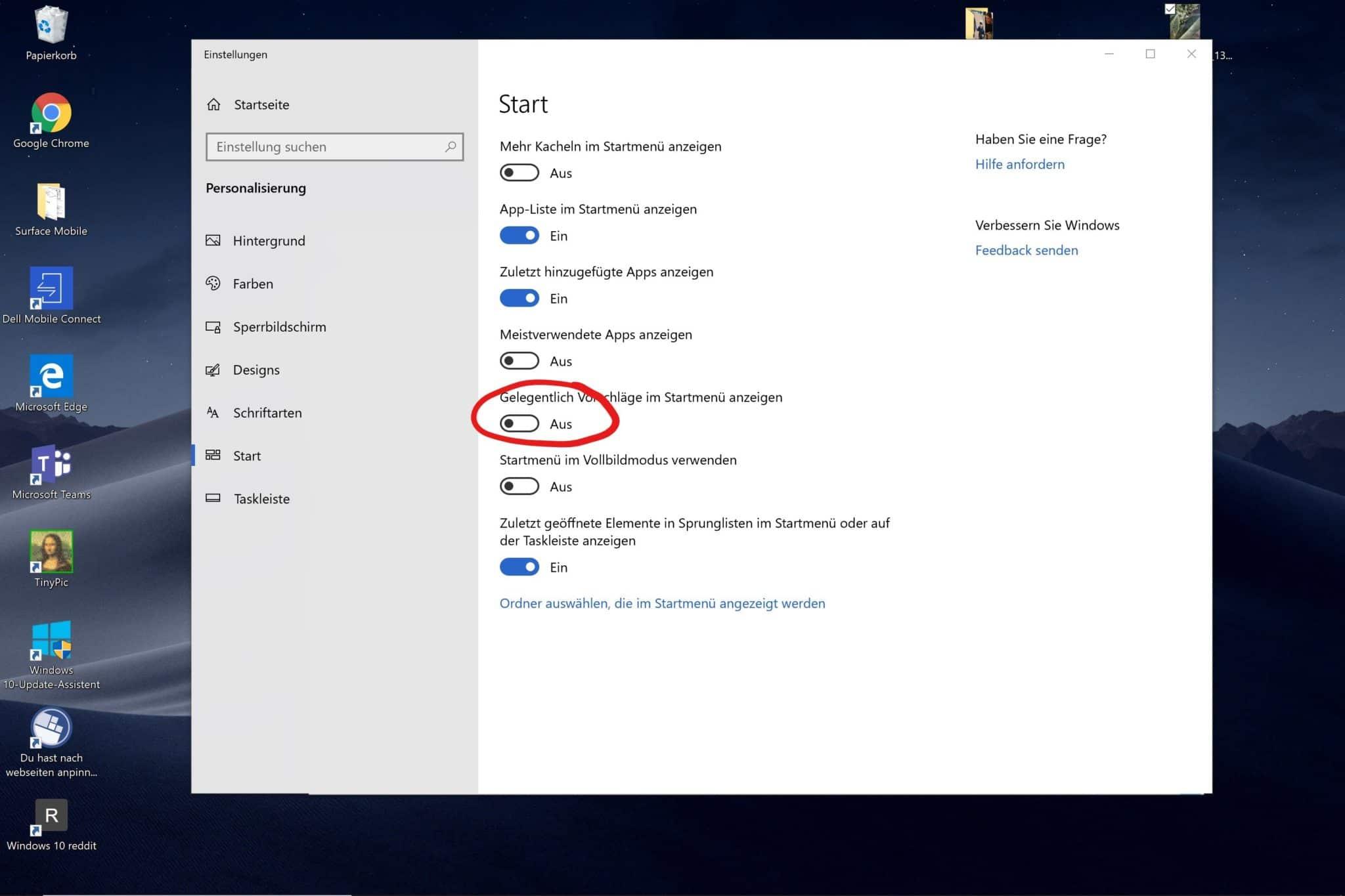Windows 10 Startmenü Werbung ausschalten