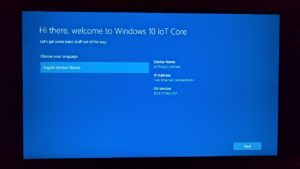 Windows 10 IoT Sprachauswahl