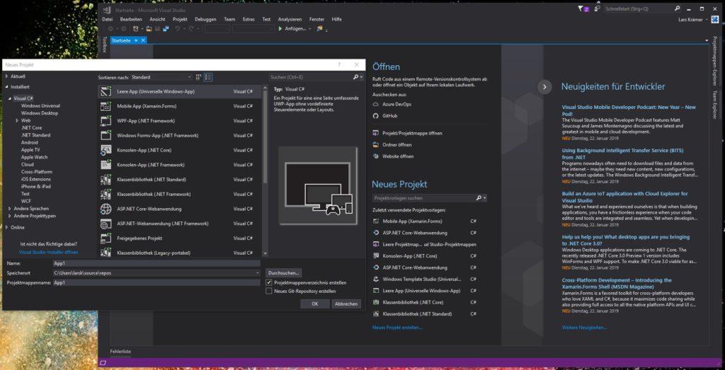 Microsoft's Entwicklungsumgebung Visual Studio