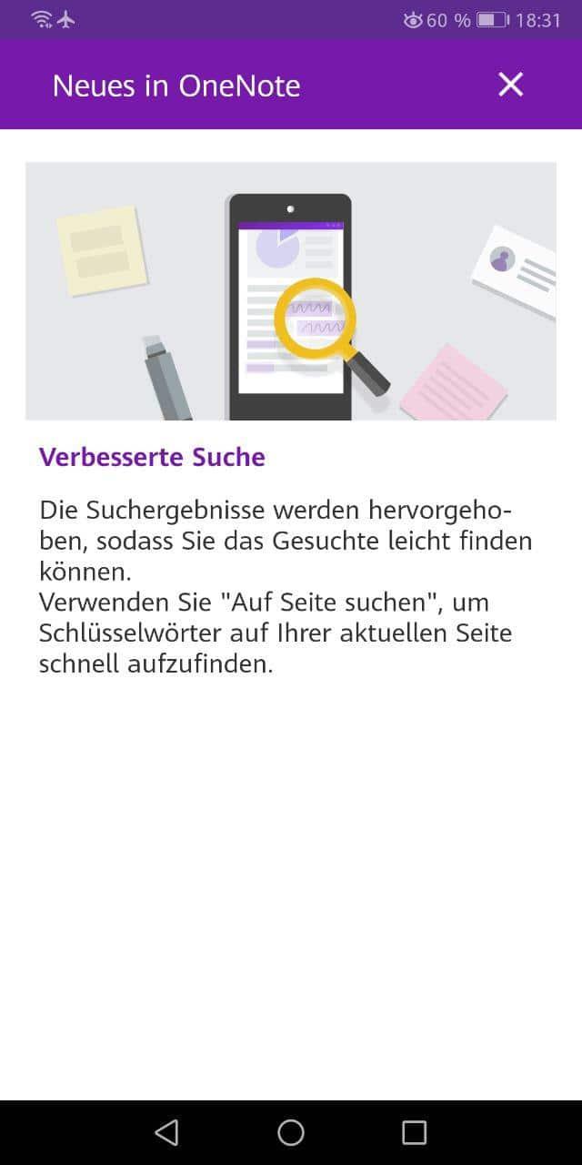 onenote für android verbesserte Suche