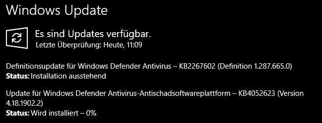 Windows Defender KB4052623 und KB22257602