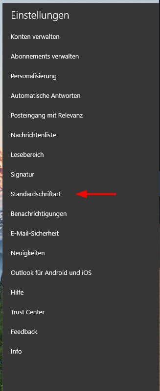 Windows 10 Mail App Shriftarten
