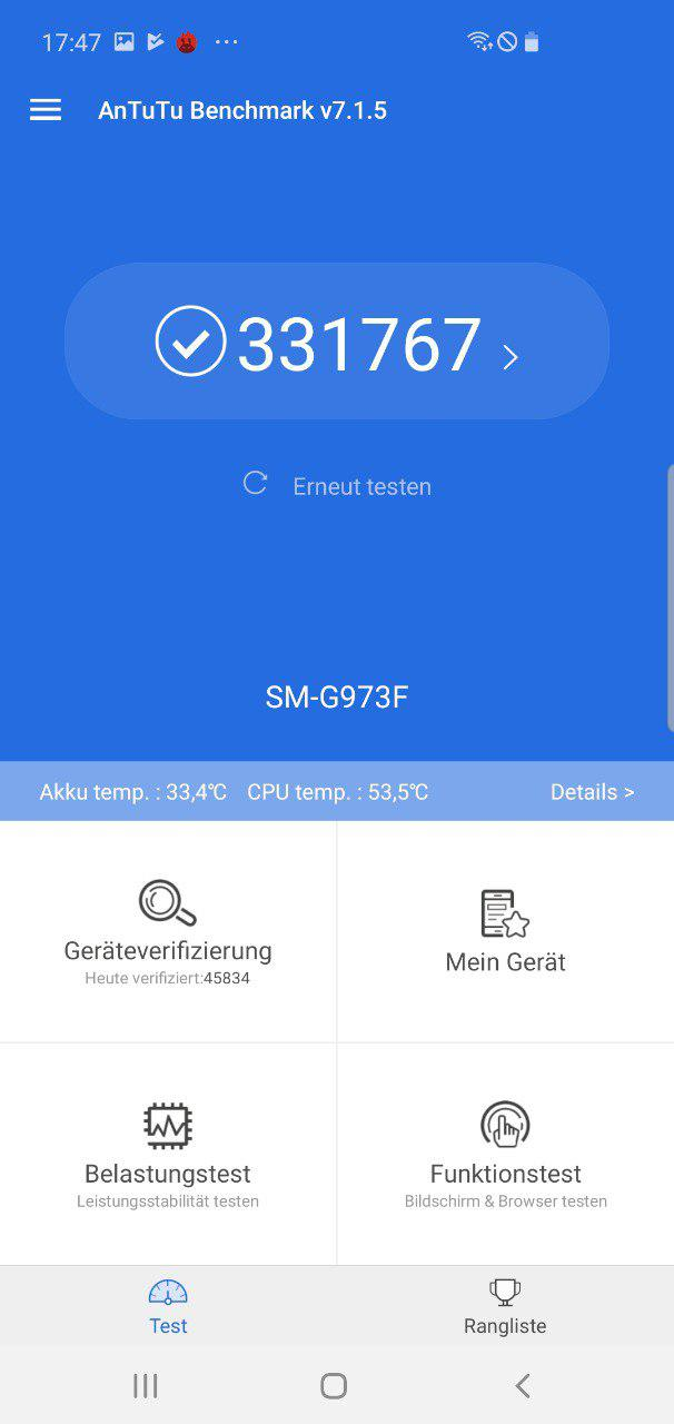 Antutu Galaxy S10 Benchmark
