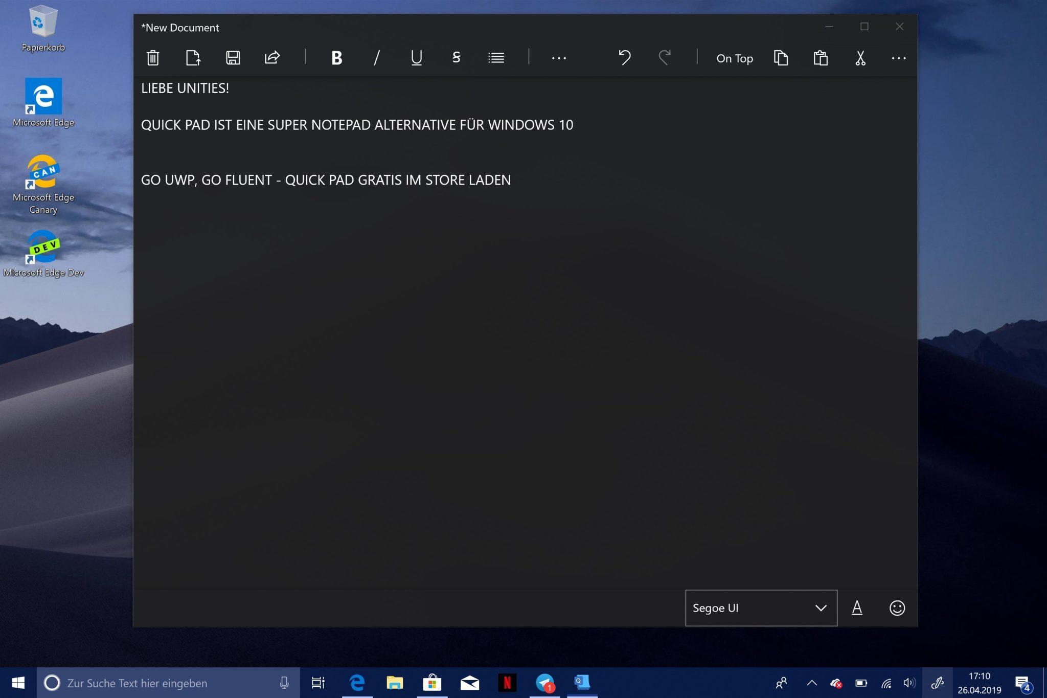 Microsoft Editor Notepad Uwp Alternative Mit Fluent Design Für