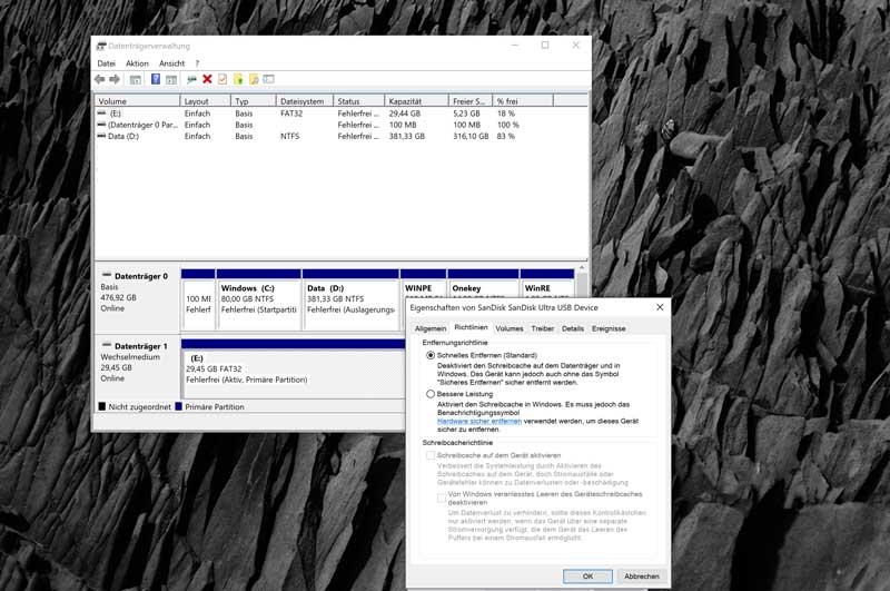 Windows 10 Schnelles Entfernen aktivieren
