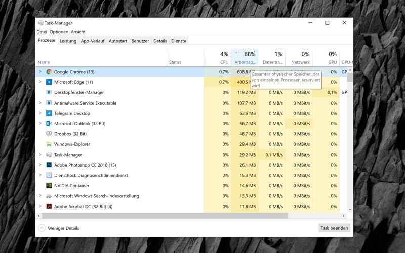 Windows 10 Taskmanager