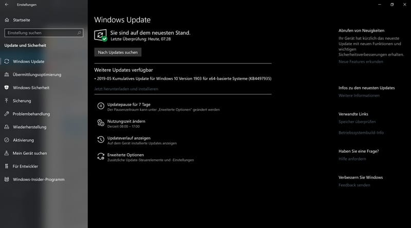 Kumulatives Update KB4497935