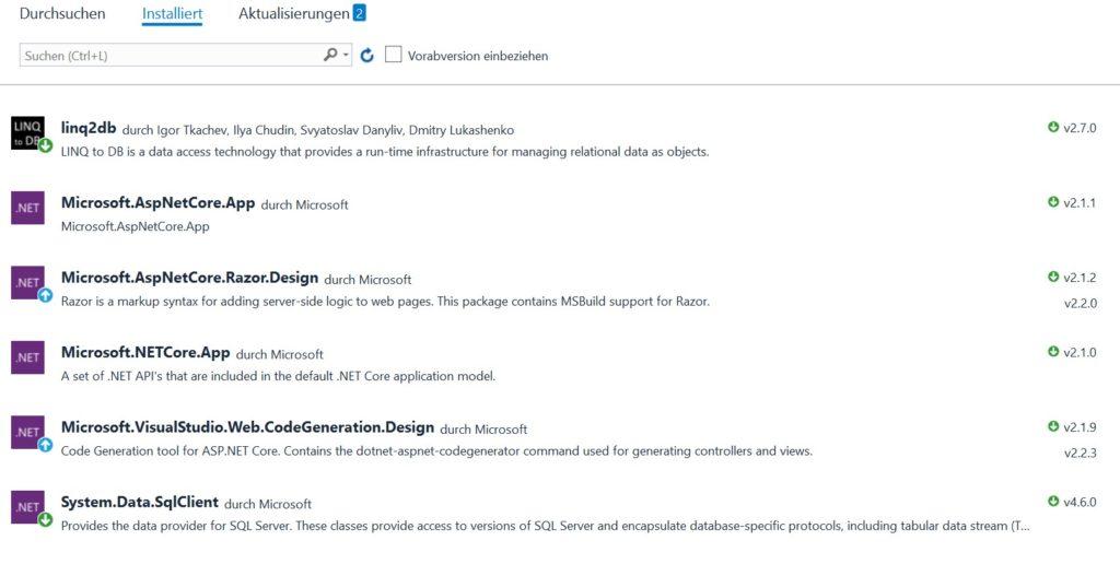 Die NuGet-Paketverwaltung in Visual Studio