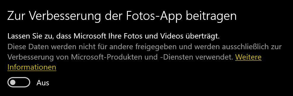 Microsoft Fotos App Datenschutz