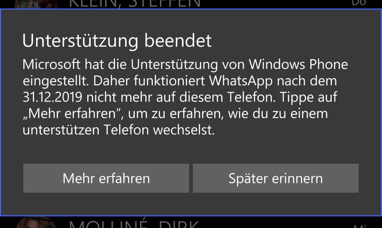 Whatsapp ende Windows Phone