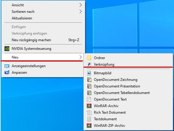 Windows 10: Taskmanager Verknüpfung erstellen