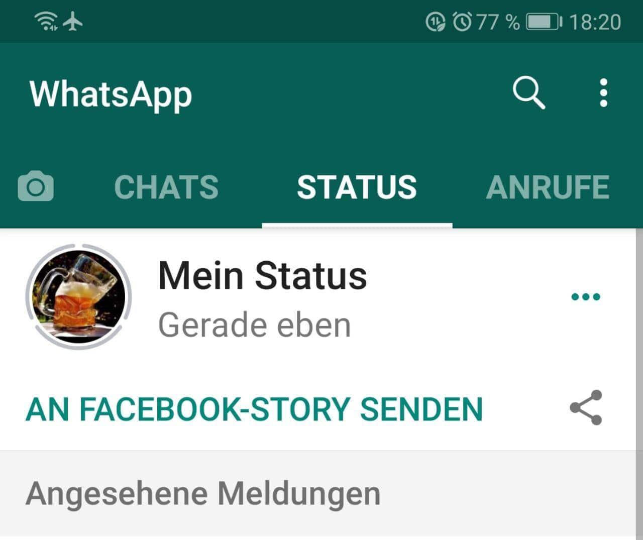 WhatsApp Status Facebook teilen