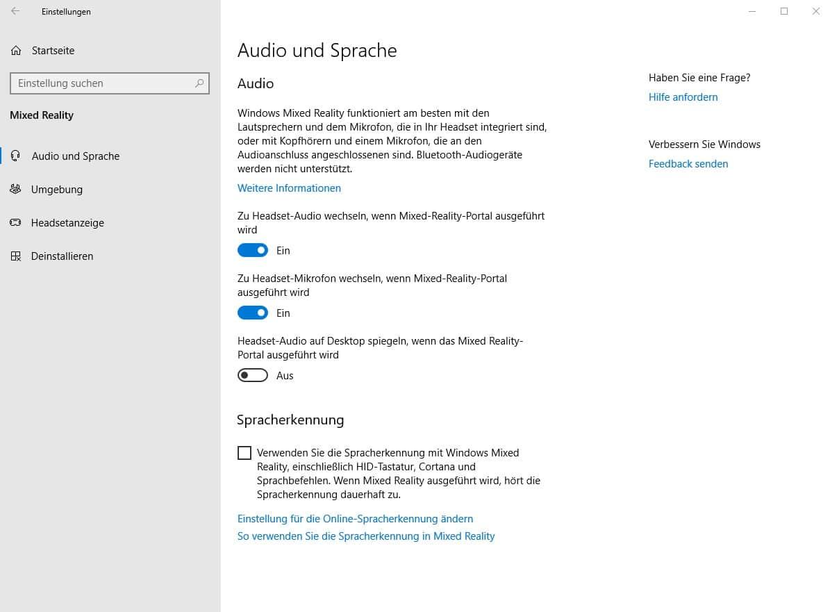 [Anleitung] Windows 10: Mixed-Reality in den Einstellungen anzeigen lassen