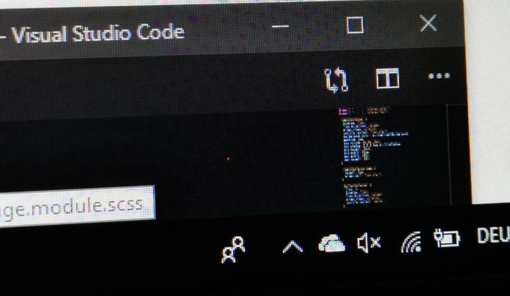 Pixelfehler in meinem ersten Gerät: ein dauerhaft rot leuchtender Subpixel.