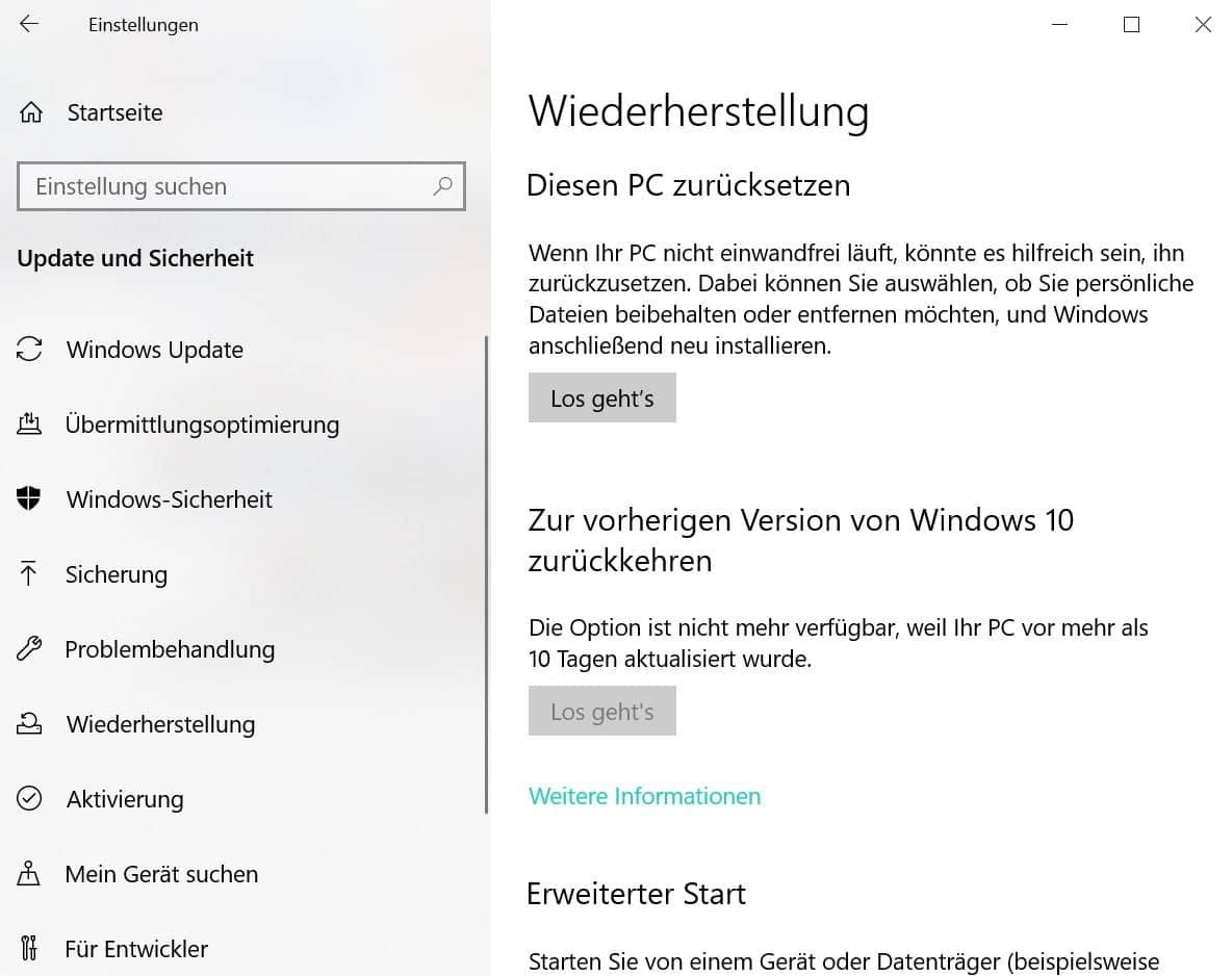 Windows 10 Wiederherstellen Geht Nicht