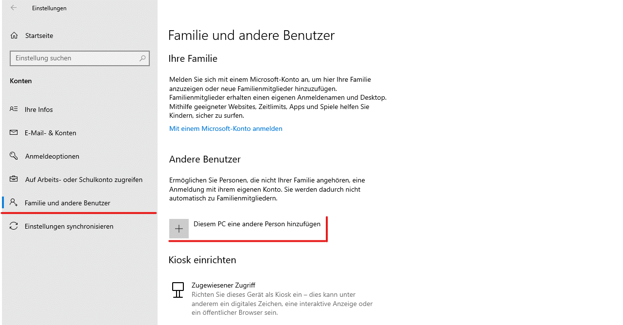 Windows 10 Benutzerkonto reparieren