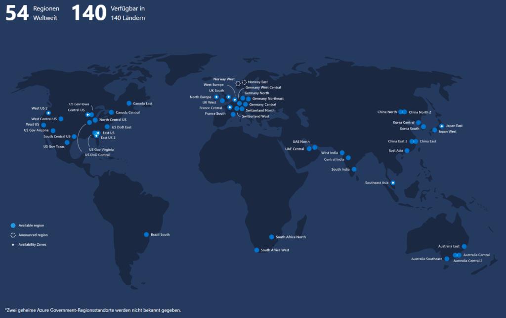 Alle Standorte der Microsoft-Azure Cloud
