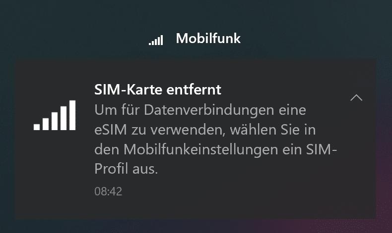 Benachrichtigung: SIM-Karte wurde entfernt