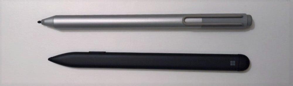 Surface Pro 4 Stift oben; Surface Pro X Stift unten
