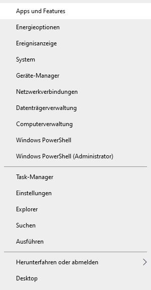 Das alternative Menu Windows 10
