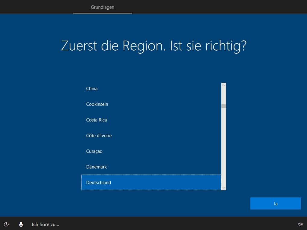 Sprachauswahl im Setup unter Windows 10