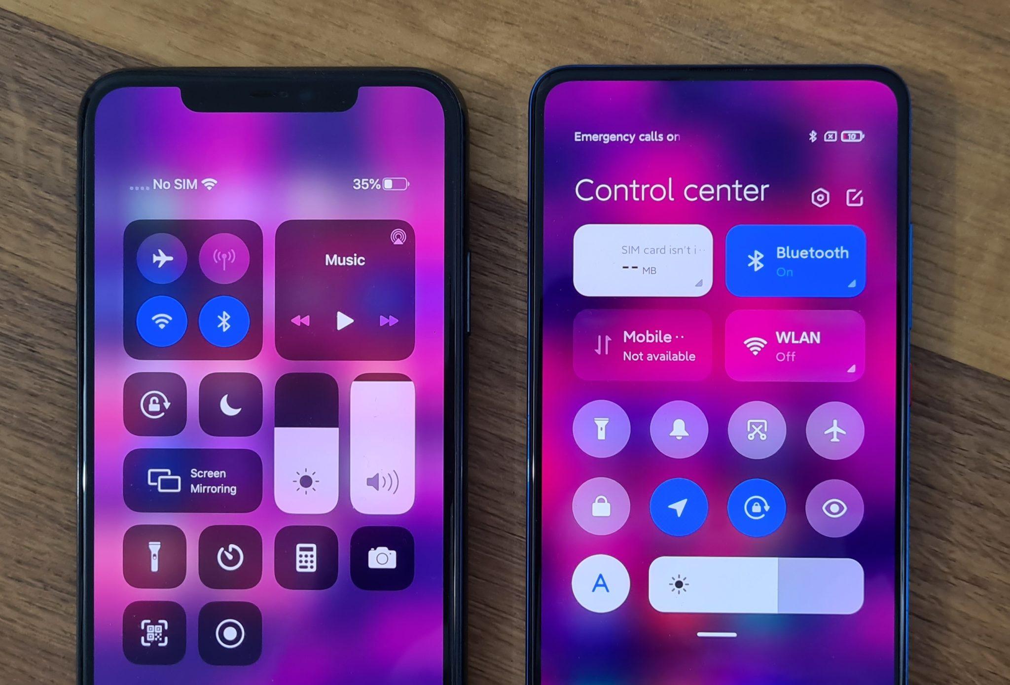 MIUI 12 führt Control Center im Style von iOS ein