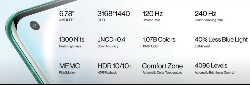 OnePlus 8 Pro Display Specs