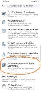 Facebook Fotos zu Google Fotos Transfer