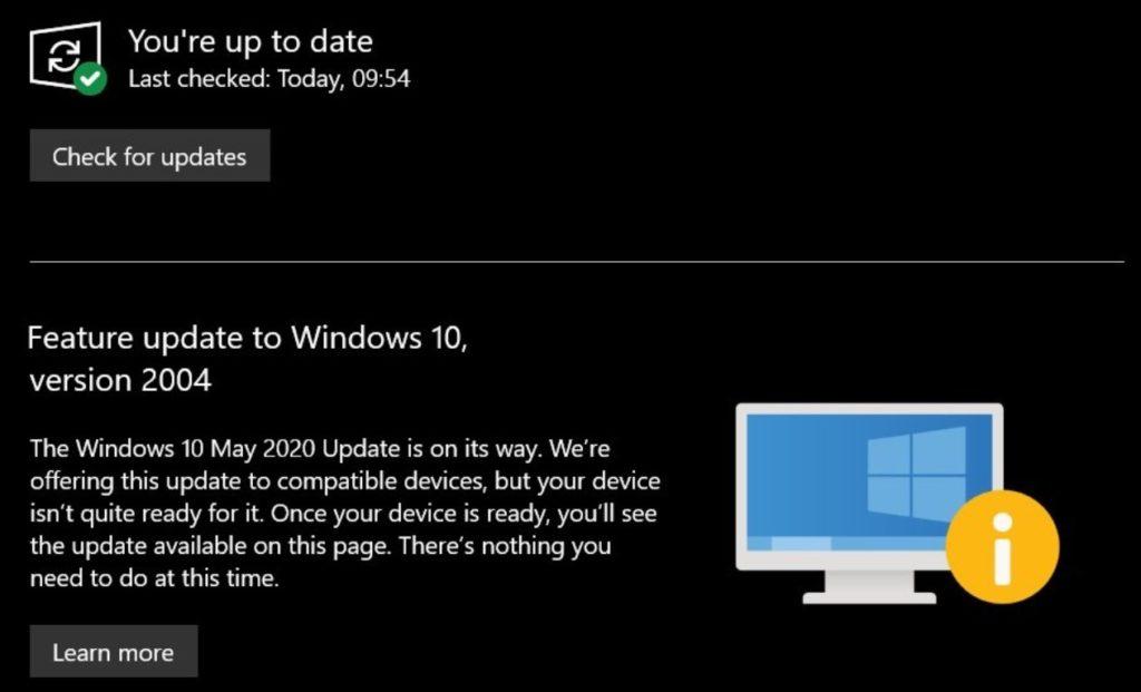 Windows 10 Mai 2020 Update