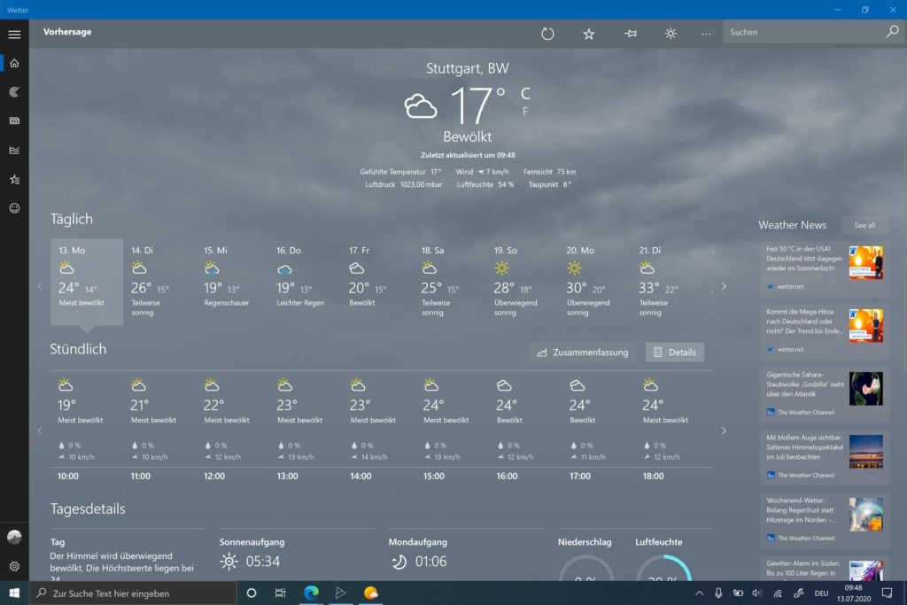 Windows 10 Wetter App