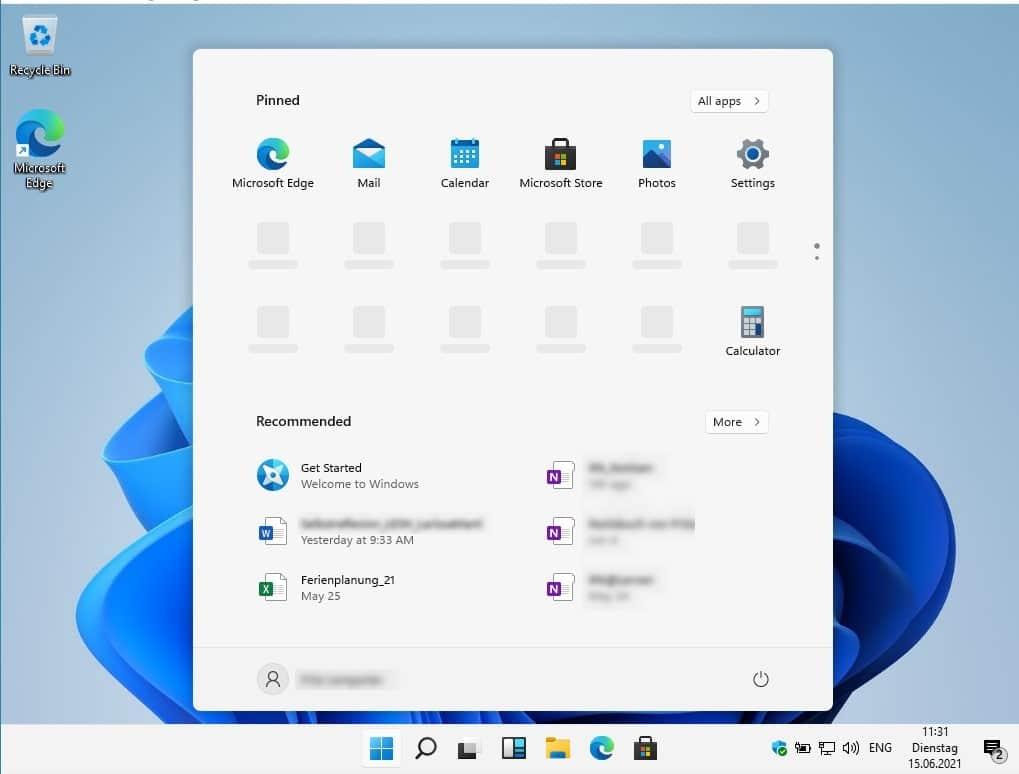 Windows 11 Startmenü