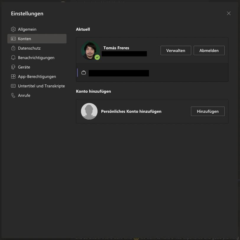 Microsoft Teams persönliches Konto